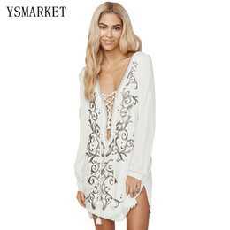 Robe En Mousseline De Soie En Dentelle Pas Cher-2017 Women Chiffon Sundress Plunge V Lacing Beach Bikini Maillot de bain Plunge V Lace-up Neck Floral Brodé Beach Dress 42067