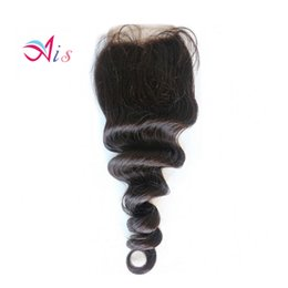7a peruvian loose wave closure online shopping - Hot A Lace Closure Brazilian loose Wave Natural B Human Hair Weave Middle Free Parts loose Wave Closures