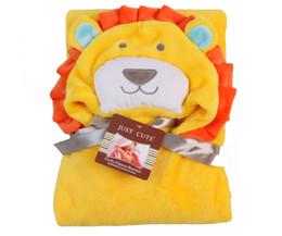 Vente en gros En gros lion jaune flanelle bébé serviettes de bain couvertures avec capuche produit pour bébé nouveau-né livraison gratuite