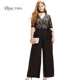 Pantalons Larges À Pattes Larges Pas Cher-Wholesale- Plus Size Fashion Women Clothing Casual Solid Sexy Lace Patchwork Pants Slim Big Size Pantalon Wide Leg 3XL 4XL 5XL 6XL