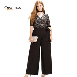 Barato Atacando Mais Legging-Wholesale- Plus Size Moda Mulheres Vestuário Casual Solid Sexy Lace Patchwork Pants Slim Big Size Wide Leg Pants 3XL 4XL 5XL 6XL
