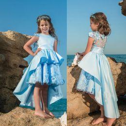 Discount beach rhinestone wedding dress - Light Blue Beach Flower Girls Dresses For Weddings High Low 3D Floral Appliqued Kids First Communion Dress Cheap Vintage