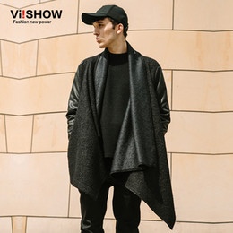 Vente En Gros Noir Homme Pas Cher-Vente en gros - VIISHOW Mens Long Trench Coat Winter Thin Hip Hop Jacket Mens Overcoat Black Patchwork Cardigan Jacket Men Homme FC12163
