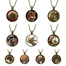 $enCountryForm.capitalKeyWord Canada - Vintage Necklace Punk gear Compass Watch Cabochon Bronze Glass Chain Pendant Necklaces