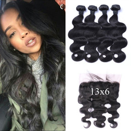 $enCountryForm.capitalKeyWord Australia - 4 bundles with 13X6 Lace Frontal Closure Natural Black Peruvian Body Wave Wavy Human Hair Weaves Closure G-EASY