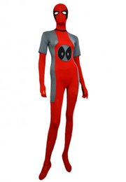 Costume Spandex Gris Pas Cher-Costume Deadpool Grey and Red Spandex Lycra Halloween Party Zentai Suit
