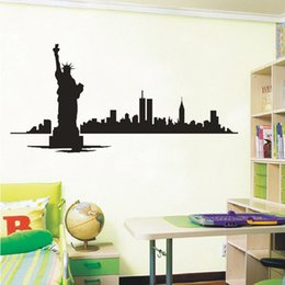 city wall stickers NZ - NEW YORK Skyline Modern City Picture Wall Decals Vinyl Stickers Home Decoration Room Wall Art Decor Custom Pasting Position DIY
