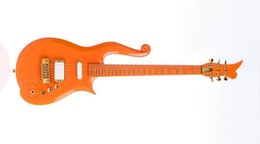 Guitars online shopping - Rare Schecter Diamond Series Prince Orange Cloud Electric Guitar Gold Hardware Deluxe Purple Crocodile Leather Hardcase Red Inner