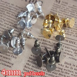 Blank Bezels Canada - mixed 1000set Earring Blank Base,4mm glue pad for cabochons,earring bezels post with backings