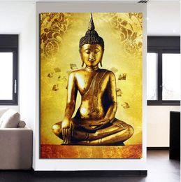 $enCountryForm.capitalKeyWord Australia - Framed 100% Hand Painted Asian Buddhist Art Oil Painting golden buddha,Home Wall Decor On High Quality Thick Canvas Multiple Size