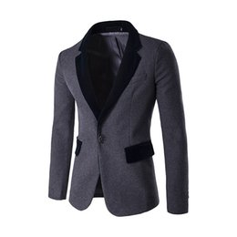 Blazer En Laine D'hiver Hommes Pas Cher-Hot Autumn Winter Fashion Solid Wool Men Coats Un bouton Slim fit Mens Blazer Casual Men's Suits