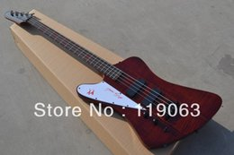 Bass guitar red Black online shopping - Left Handed Strings Fire Thunderbird Nikki XX Signature Wine Red Flame Maple Top Electric Bass Guitar EMG Pickups Black Hardware
