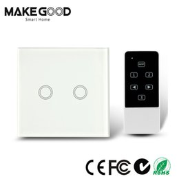 Lighted Light Switches Australia - Wholesale-Makegood UK standard 2 Gang 2 way Touch Light Switch with Wireless Remote Control,RF433Mhz Glass panel smart wall switch