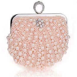 Beads finger ring online shopping - 2017 New fashion Finger Ring bag pearl clutch evening bag wedding bridal purse black beaded evening bag Bridal wedding party