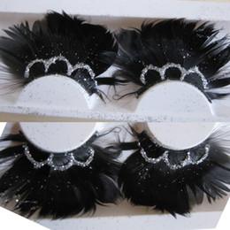 Eyelashes Glitters Canada - 2017 Black Feather Exaggerated False Eyelashes Thick Messy Glitter Sequins Stage Makeup Fake Eyelashes Latin Dance Feather Eye Lashes