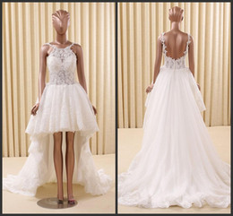 Robe À Bas Prix Pas Cher-Applique Halter Neck Seqin Robes de Mariage Bling Beading Backless Sexy Conception Train Train Haute Basse Sans Manche Sweet Girls Garden Bridal