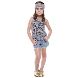 Vente En Gros De T-shirts Pas Cher-Wholesale- 2016 Brand Summer Girls Ensembles de vêtements Débardeurs T-Shirt + Short Pantalons Headband Costumes de sport Casual Kids Clothing 3pcs Outfit