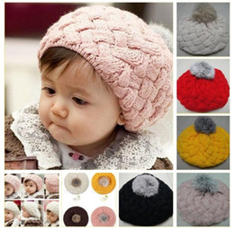 Wholesale Infant Baby Boy Girls Berets Hat Handmade Knitted Crochet Wool Children Beanie Cap Winter Kid Hats with Pom Pom Red Pink Beige