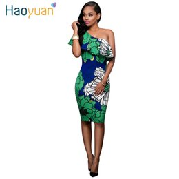 Barato Joelho Comprimento Noite Vestidos Sexy-Atacado- Mulheres Outono Sexy Bodycon Dress 2017 Slim Body Con Joelho de comprimento One-Shoulder Party Night Club Vestidos Summer Woman Ruffle Dress