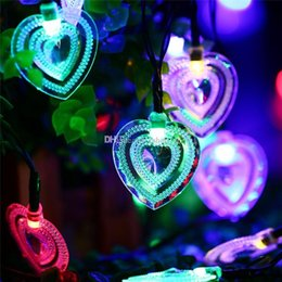 outdoor battery fairy lights Canada - 2017 New Arrive 20 LED Heart Shape Solar Fairy String Light Waterproof Solar Powered Outdoor Light Garden Lamp Christmas Decorations