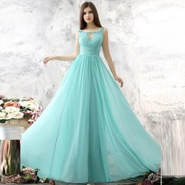 cheap sheer top prom dress Australia - Beautiful Long Elegant Evening Dresses Top selling Cheap A line Chiffon Sweep Train Women Prom Gowns Scoop Backless