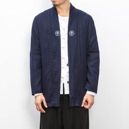 Großhandel Großhandels- Men's Fashion Strickjacke Kimono 2017 neue Frühling Herbst China Stil männlich lose Trenchcoat High Street Hiphop Graben Outwear JK13