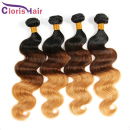 22 inch tone weave 2019 - T1B 4 27 Body Wave Hair Weaves Virgin Brazilian Ombre Human Hair Bundles Three Tone Blonde Brazillian Ombre Extensions T