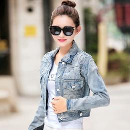 Discount girls jacket rivets - 2017 New Fashion Spring Women Sequins Jean Jackets Ladies Diamonds Long Sleeve Vintage Denim Short Coats for Girls Tops