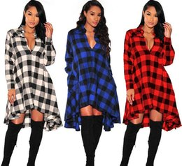 V Cou Chemise Femme Sexy Pas Cher-Hiver Femmes Plaid Robe Irrégulière Polo V-Neck Loose Chemises Button Long Sleeve Cardigan Manteau Pour Sexy Ladies Vestidos Pas de ceinture SF11-33