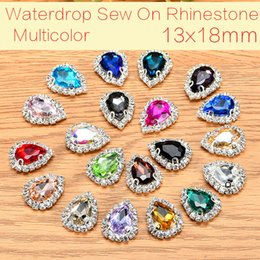 Teardrop 50pcs lot Glass Crystal Buttons Sew On Rhinestones With Claw DIY Decoration Jewelry Accessories 13x18mm on Sale