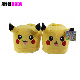 tv slippers UK - New One Pair New Pikachu Plush Toy Indoor Home Slippers Warm Shoes Anime Cartoon Yellow One Size Unisex Adult Kid Gift 2 PCS