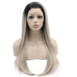 """$enCountryForm.capitalKeyWord Canada - 24"""" Long Ombre Black Gray Blonde Two Tone Silky Straight Half Hand Tied Heat Resistant Synthetic Fiber Lace Front Fashion Wig S02"""