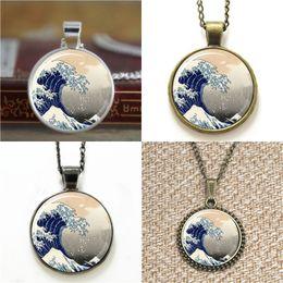 Wave earrings online shopping - 10pcs blue wave The Great Wave Necklace keyring bookmark cufflink earring bracelet