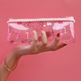 Clear plastiC CosmetiC Cases online shopping - Fashion Cute Pink Transparent Cosmetic Bag Flamingo Silica Gel PVC Plastic Water Proof Pencil Bag Travel Wash Case Women Makeup Bag