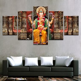 elephant picture home decor 2020 - 5 Pcs Set Canvas Pictures HD Prints Wall Art India Religion Elephant Ganesh Paintings For Living Room Home Decor Prints