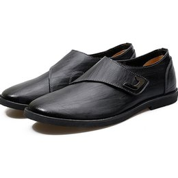 Two Black Shoes Canada - Men's casual shoes 2017 spring genuine leather breathable two-layer leather business men's shoes