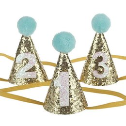 Small Glitter First Birthday Party Hat Pom Girls Boy Pink Blue Cute Kids Hair Accessory Gold Headband