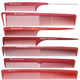 $enCountryForm.capitalKeyWord NZ - Wholesale- Hot Selling 7 pcs Red Hair Cut Comb Set, Professional Salon Hairstyling Comb In Different Design, Hairdressing Carbon Comb V-94