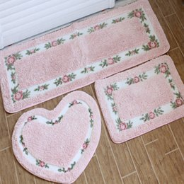free shipping pastoral 3pcs by set washable new thick micro fabric carpet shaggy rugs bathmat bathroom colours for living bed room anti slip - Washable Rugs