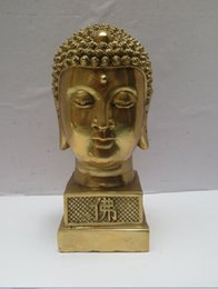 $enCountryForm.capitalKeyWord Australia - High 7inch Metal crafts Home Decoration Chinese Brass Carved Buddha head Sculpture Tibetan Buddha Statue Free Shipping