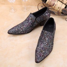 $enCountryForm.capitalKeyWord Australia - New Glitter Silver Pointed Toe Italian Men Dress Shoes Wedding Party Formal Shoes Fashion Slip on Oxfords Men's Flats Big Size