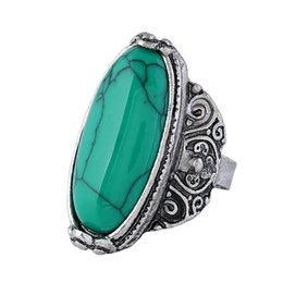 $enCountryForm.capitalKeyWord UK - Adjustable Antique Silver Turquoise Stone Rings For Men Vintage Style Men's Geometric Ring New Fashion Jewelry