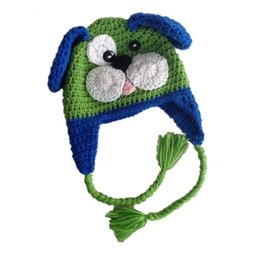 crochet baby puppy hats UK - Novelty Green Blue Puppy Hat,Handmade Knit Crochet Baby Boy Dog Animal Hat,Newborn Toddler Photo Prop,Shower Gifts