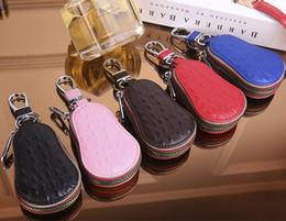 Discount alligator wallet men black - New Genuine leather Alligator car key zipper wallet men@women cow leather fashion small purse black pink blue coffee red
