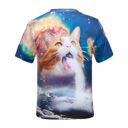 Barato Camisas Superiores Do Gato-New Fashion Space / Galaxy Men Brand T-shirt Funny Print Cópias bonitos do verão da camisa dos homens 3D do gato 3D ZL3187