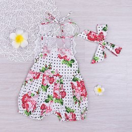 Europe Polka Dots Clothes Pas Cher-Baby Rompers 2017 Summer Dece Floral Polka Dot Print Romper Europe et Amérique Vêtements de mode avec bandeau HX-263