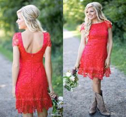 $enCountryForm.capitalKeyWord Australia - Red Full Lace Short 2019 Bridesmaid Dresses Cheap Western Country Style Crew Neck Cap Sleeves Mini Backless Custom Made maid of honor gown