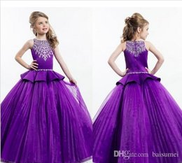 Wholesale Hot Sale Classic Ball Gown Girls Pageant Dresses Jewel Beads Ruffle Girls Party Dress Zipper Flower Girl Dress Size customization