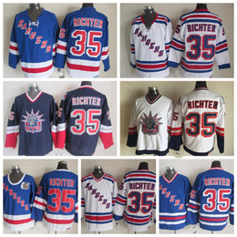 75th jersey Canada - Vintage New York Rangers Mike Richter Hockey Jerseys 75th Anniversary Blue Vintage CCM Cheap Mens #35 Mike Richter Stitched Jersey S-XXXL