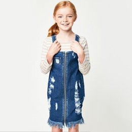 Fermeture À Glissière Sans Manches En Denim Pas Cher-Teenager Denim Tassel Robes Junior Hallow Out Fashion Suspender Dress Big Girls Zipper Casual Dress 2017 Vêtements pour enfants